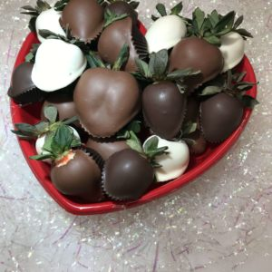 Heart Box of chocolate dipped strawberries.